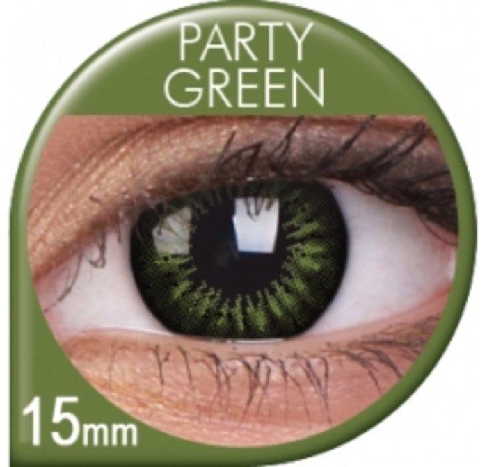 maxvue vision ColourVue Big Eyes - Party Green (2 čočky tříměsíční) - dioptrické Dioptrie -8,00, Zakřivení 8.6