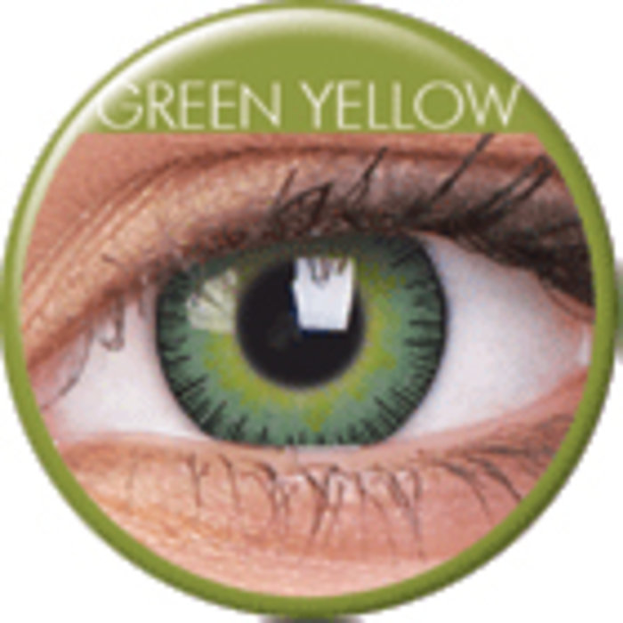 maxvue vision ColourVue Fusion - Yellow Green (2 čočky tříměsíční) - dioptrické Dioptrie -8,00, Zakřivení 8.6