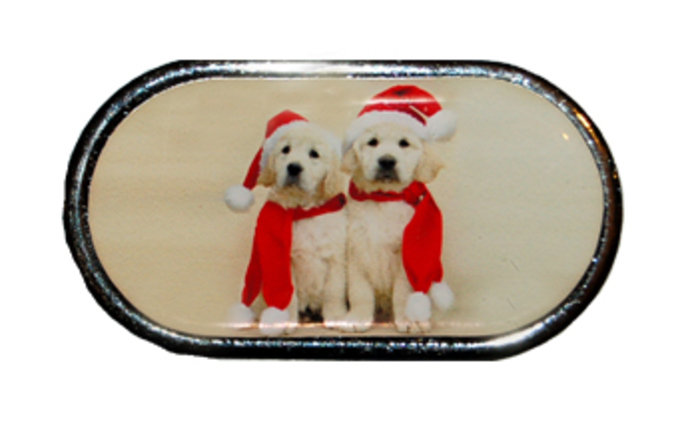 OPTIPAK LIMITED Pouzdro se zrcátkem Vánoční motiv - Dvě štěňata