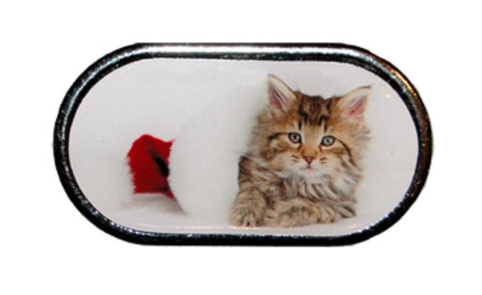 OPTIPAK LIMITED Pouzdro se zrcátkem Vánoční motiv - Kotě ležící v kulichu