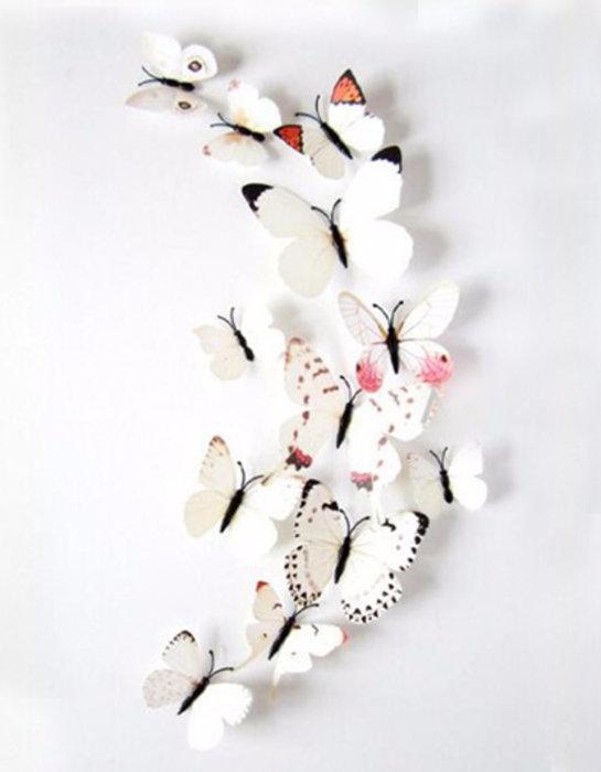 Dekorativní motýlci na zeď 3 kusy - barva bílá